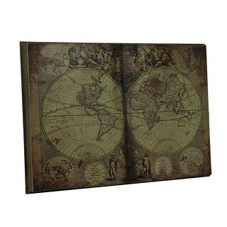 Antique Inspired New World Map Bound Book Wood Wall Art Hanging 28 Inch - brown