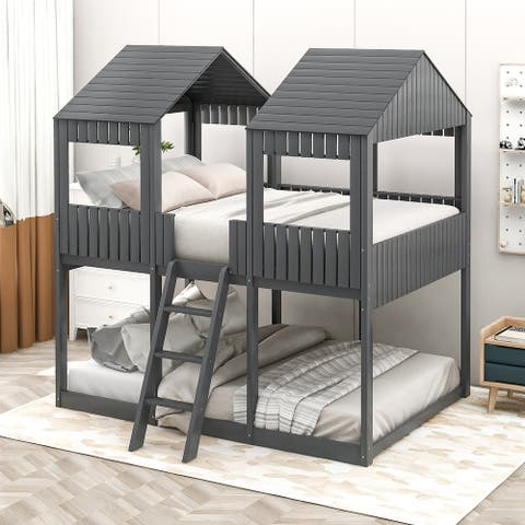 Merax Full over Full Wood Tower Bunk Bed with Roof