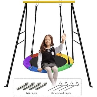 Link to Saucer Tree Swing and Swing Frame Set, 40'' Waterproof Saucer Tree Swing Set + Heavy Duty All-Steel Swing Frame - 40 inch Similar Items in Outdoor Play
