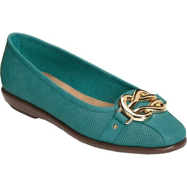 b1ed35a0aeb5 Shop A2 by Aerosoles Women s Better Luck Flat Turquoise Faux Leather ...