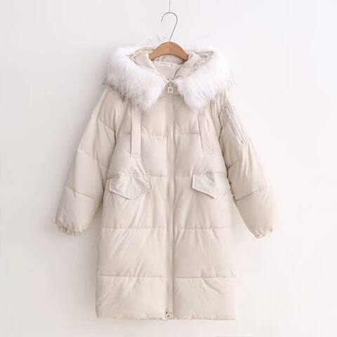 Loose Mid-Length Long Fur Collar Thick Down Cotton Padded Jacket