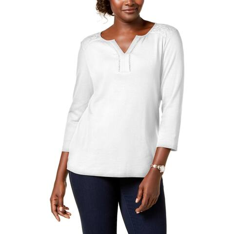 Karen Scott Womens Petites Top Cotton Lace Trim - Bright White
