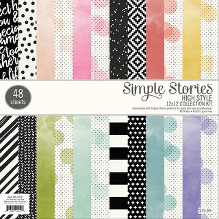 "Simple Stories Single-Sided Paper Pad 12""X12"" 48/Pkg-High Style, 24 Designs/2 Each"