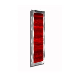 Statements2000 Red / Silver Abstract Metal Wall Art Accent Wave by Jon Allen - Inner Fire 2