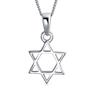 Star Of David Jewish Pendant Sterling Silver Necklace 16 Inches