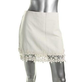 Zara Trafaluc Womens Floral Print Lightweight Canvas Pencil Skirt - L