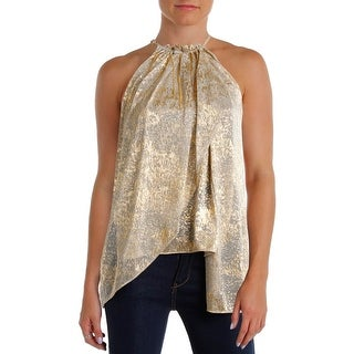 T Tahari Womens Veronica Blouse Metallic Halter