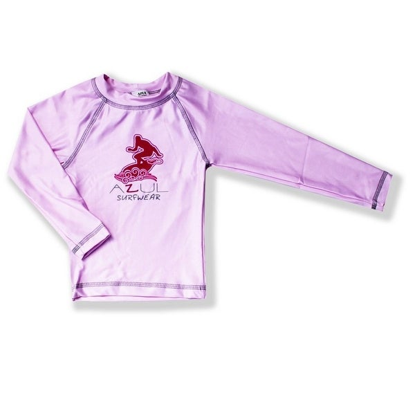 Azul Baby Girls Pink Solid Logo Detail Long Sleeve UPF 50+ Rash Guard