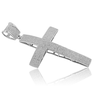 2.20cttw Real Diamond Silver Cross Charm For Mens 3 Inch Tall (i2/i3, I/j) By MidwestJewellery - White