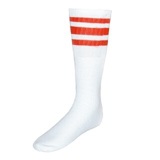 CTM® Striped Top Ribbed Tube Socks (4 Pair Pack)