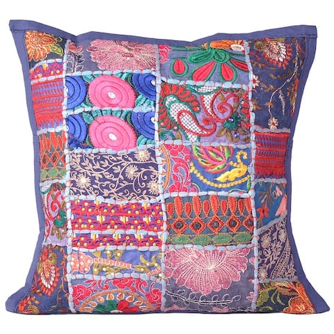 Oussum Handmade Embroidered Patchwork Cotton 16-inch Throw Pillowcase