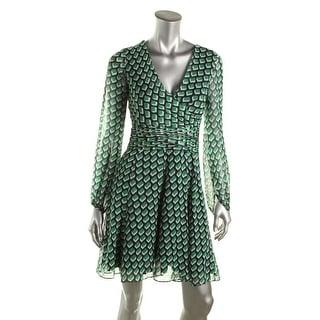 Diane Von Furstenberg Womens Ashlynn Chiffon Printed Wear to Work Dress