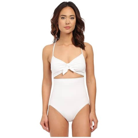 Michael Kors - Drapey Jersey Strappy Cross Back Tie Front Maillot (White) SZ 6