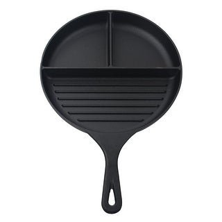 Jim Beam Heavy Duty Construction Pre Seasoned 3-Compartment Cast Iron Round Skillet for Grilling and Barbecue