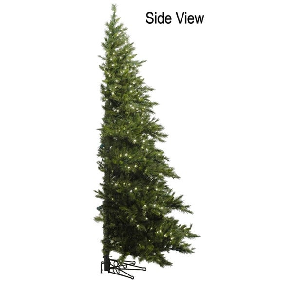 6.5' Pre-Lit Westbrook Pine Artificial Half Wall Christmas Tree - Clear Lights - green