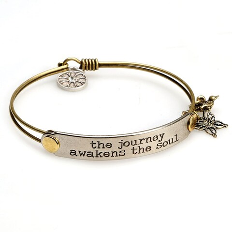 Women's Inspirational Message Brass Bracelet with Charms - The Journey Awakens