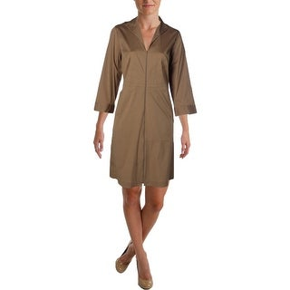 Lafayette 148 Womens Plus Kathy Knee Length Zip Front Casual Dress - 20W