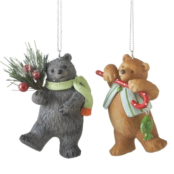 "3.25"" Festive Brown Bear with Candy Cane and Fish Wildlife Christmas Ornament"