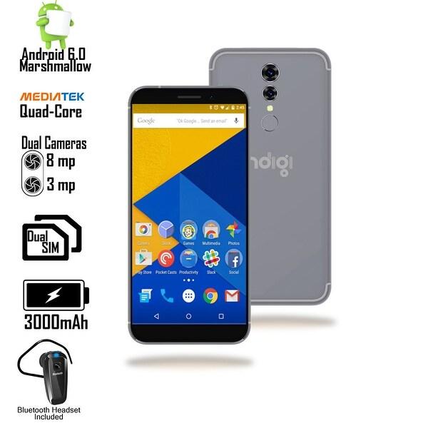 "GSM Unlocked 4G LTE 5.6"" SmartPhone by Indigi (QuadCore Processor @ 1.2GHz + Android 6 + Fingerprint + Bluetooth Headset) Black"