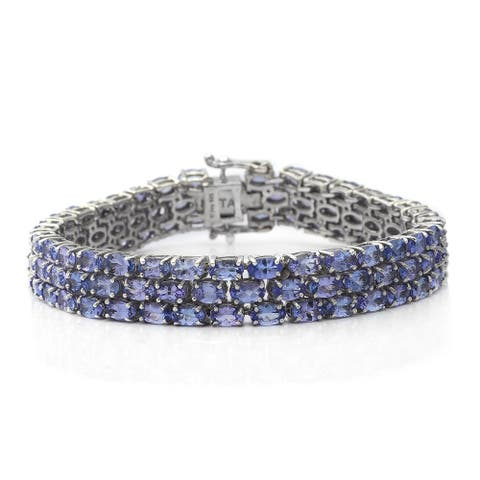 Shop LC 925 Silver Blue Tanzanite Triple Row Bracelet Ct 25.7