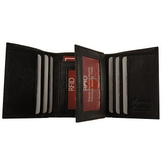 RFID Improving Lifestyles Mens Leather Wallet Trifold Black SUNRFID1221BK