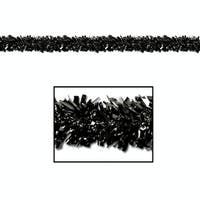 Club Pack of 12 Festive Metallic Black Foil Tinsel 6-Ply Halloween Christmas Garlands 15' - Unlit