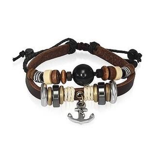 Bling Jewelry Leather Wrap Bracelet Black Imitation Cats Eye Silver Plated