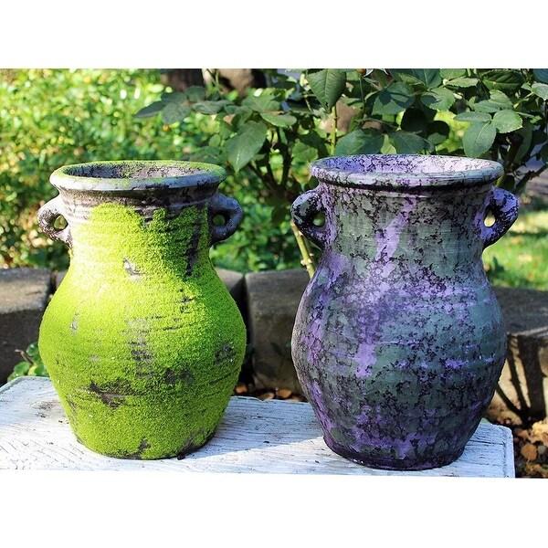 Large Old World Distressed Ceramic Vase or Planter. Opens flyout.