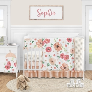 Link to Peach Watercolor Floral Collection Girl 5-piece Nursery Crib Bedding Set - Pink and Green Shabby Chic Rose Flower Polka Dot Similar Items in Mobiles
