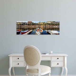 Easy Art Prints Panoramic Images's 'Italy, Sardinia, Bosa, Boats moored on the dock' Premium Canvas Art