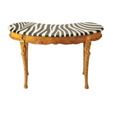 Offex Transitional Kidney Shaped Wooden Writing Desk in Heritage Finish - Multicolor