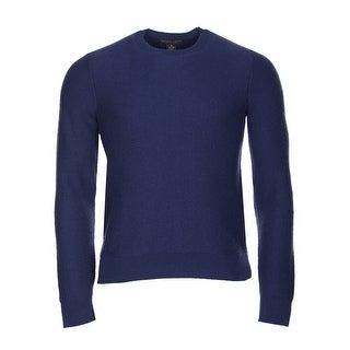 Bloomingdales Cashmere Crewneck Herringbone Sweater Marine Blue Small