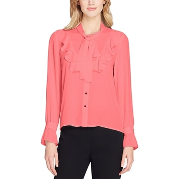 bee0e0f25f1469 Shop Tahari By ASL Coral Womens Neck-Tie Long Sleeve Blouse - On Sale -  Free Shipping On Orders Over $45 - Overstock - 26900427