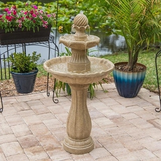 """Link to Tethys 44"""" Outdoor Solar 2-Tier Floor Fountain - Sandstone - 22"""" Dia. x 44"""" Similar Items in Home Theater"""