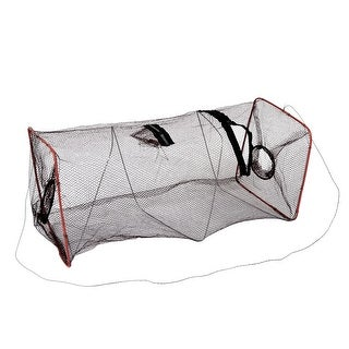 """Unique Bargains 19"""" x 7.9"""" Nylon Metal Foldable Fishing Landing Net Fish Keepnet Cage Crawfish Carp Crayfish Brown"""