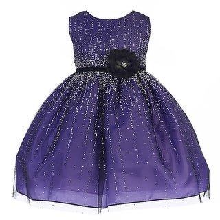 Crayon Kids Baby Girls Purple Velvet Flower Sash Sequin Christmas Dress 6-24M