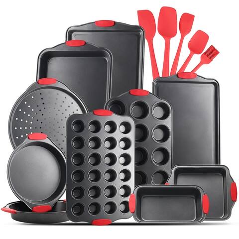 JoyTable Bakeware Set - 15 PC Nonstick Bakeware Set With Silicone Handles & Utensils