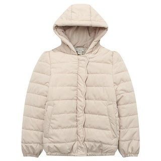 Richie House Little Girls Beige Ruffled Placket Winter Padding Jacket 2-5