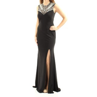 Womens Black Sleeveless Full Length Body Con Evening Dress Size: 12