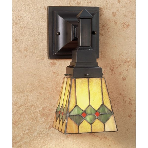 "Meyda Tiffany 48189 Martini Mission 7"" Wide Single Light Wall Sconce with Stained Glass Shade"