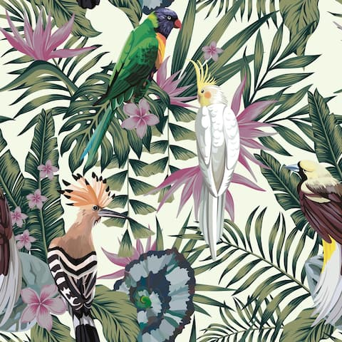 Exotic Birds Removable Wallpaper - 10'ft H x 24''inch W