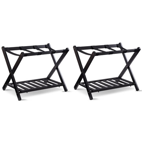 Costway Set of 2 Folding Luggage Rack with Shelf Travel Suitcase Shoe Storage Holder