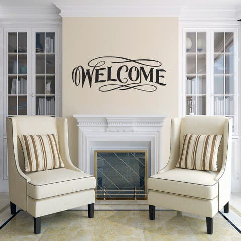 Fancy Welcome Wall Decal 30-inch wide x 12-inch tall