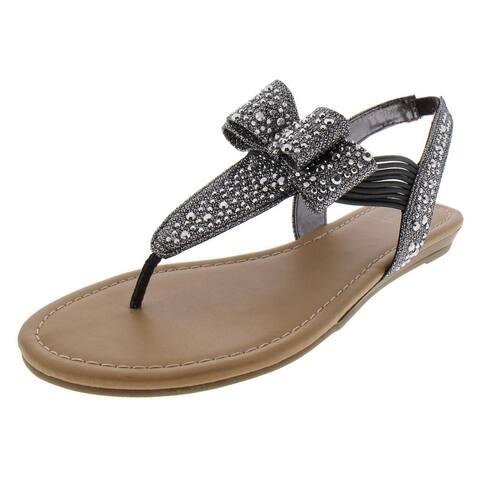 Material Girl Womens Shayleen Flat Sandals Slingback Metallic