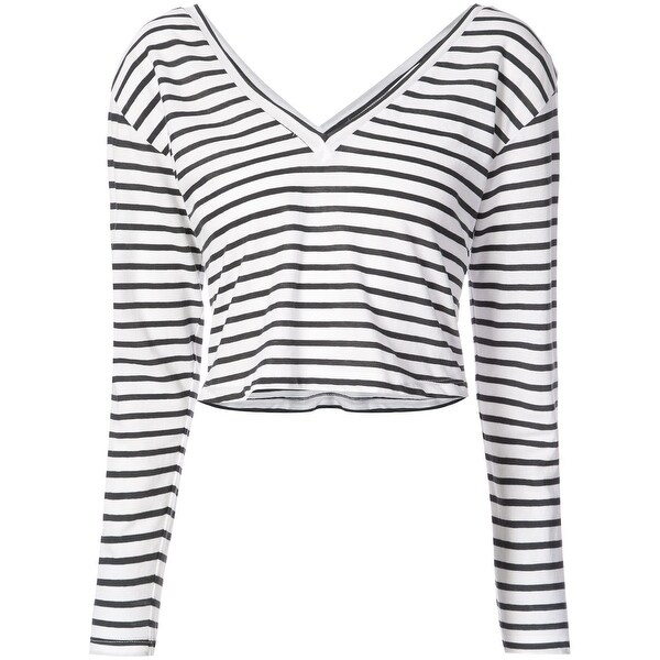 3f274863ce8 Shop A.L.C. White Black Womens Size Large L Striped Long Sleeve Crop Top -  On Sale - Free Shipping Today - Overstock - 27620561