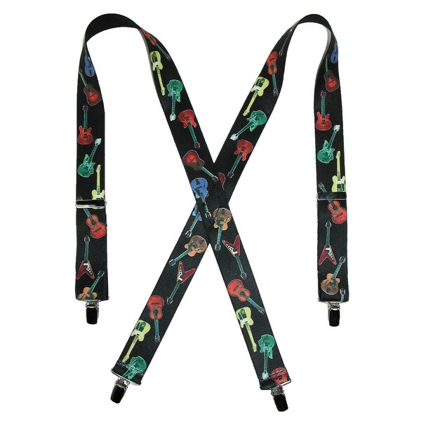 CTM® Men's Elastic Clip-End 1 1/2 Inch Guitar Pattern Suspenders - One size