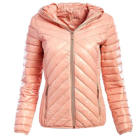 Michael Michael Kors Womens Pink Chevron Down Quilted Hooded Packable Coat