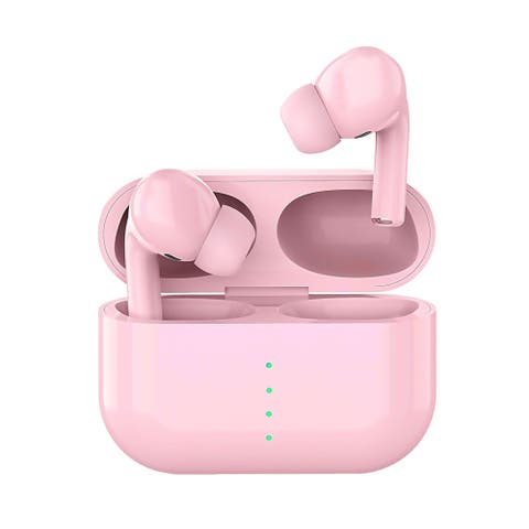 TWS Pro Sport Air EarBuds w/ Noise Cancellation, True Wireless Headphones & Charging Case, Pink