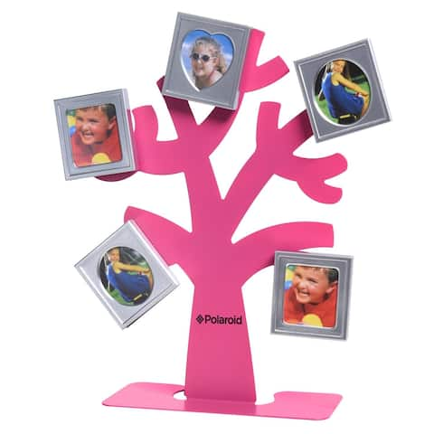 Polaroid Family Tree Frame - Tree with Stand & Five Magnetic Mini-Picture Frames (Pink) For Zink 2x3 Photo Paper Pojects