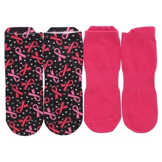 Sof Sole Womens Breast Cancer Awareness Digital Design Two Pack Low Cut Socks Black - black/dark pink - M